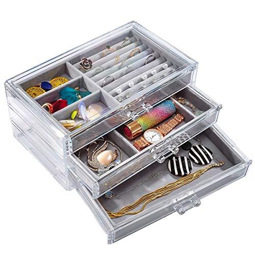 Sonnis Boîte de Rangement à 3 tiroirs en Velours avec tiroirs pour Bijoux et Bijoux pour Femmes ...