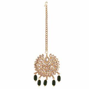 Touchstone New Indian Bollywood Cotemporary Kundan Collection Traditional Chaandbaali Motif Mughal Kundan Faux Emerald Green Beads Head Enhancing Bridal Mangtika in Antique Gold Tone for Women.