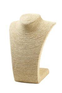 Juvale – Buste présentoir de colliers et pendentifs en toile de jute beige – 28 cm.