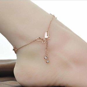 PQGHJ Bracelet de Cheville, Bracelets de Cheville à chaîne Unique Diamant Solitaire Papillon élégant, Bracelet de Cheville en Acier Titane