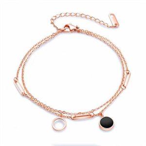PQGHJ Bracelet de Cheville, Bracelets de Cheville à Double Cercle géométrique, Bracelet de Cheville plaqué Or Rose à tempérament Simple