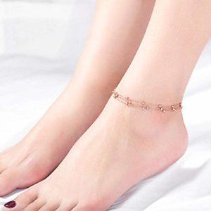 PQGHJ Bracelet de Cheville, Bracelets de Cheville Multicouches personnalisés, chaîne de Pied de Dames en Acier au Titane plaqué Or Rose