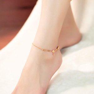 PQGHJ Bracelet de Cheville en Or Rose, Bracelet de Cheville en Acier au Titane Couleur Or Smiley Visage Gland Cheville Pied chaîne Bijoux