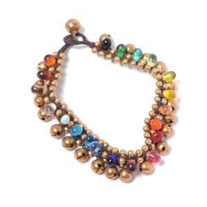 81stgenerationVerre Laiton Multi Perle Cloche d'or de Bracelet de Cheville