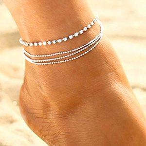 Bohend Boho Bracelet Argent Cristal Réglable Multicouches Chevilles Bracelets Plage Chaînes de pieds Accessoires de bijoux Pour Femmes Et Filles
