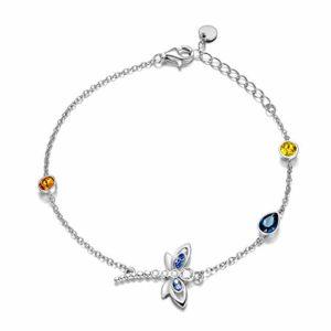 Bracelets de Cheville en Argent Sterling 925 avec Libellule et Cristaux Swarovski Dragonfly Bijoux pour Femmes Filles