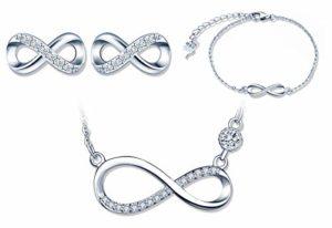 Ensembles de bijoux en argent 925, Collier symbole de l'infini, Bracelet et Boucles d'oreilles de symbole infini, Zircon incrusté, bijoux pour femme fille, Cadeau de Noël et Anniversaire