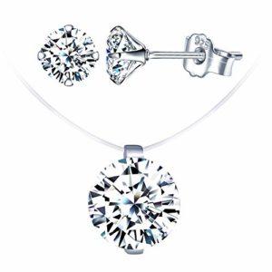 Ensembles de bijoux en diamant, Collier ras-du-cou avec ligne de pêche invisible, choker pour femme, Boucles d'oreilles de diamant, en argent 925, Cadeau de Noël et Anniversaire