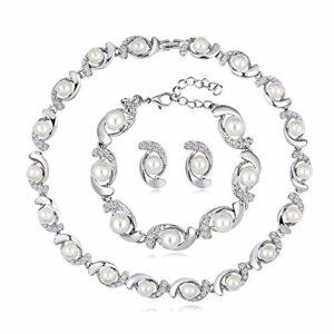 Jhccy Ensemble de 3 colliers et boucles d'oreilles en perles