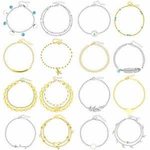 KLYNGTSK 16 Pièces Bracelets de Cheville Femme Chaînes Cheville Ajustable Bracelet Pied Femme Or Argent Bijoux de Cheville en Alliage pour Filles Fête des Mères Noël Anniversaire