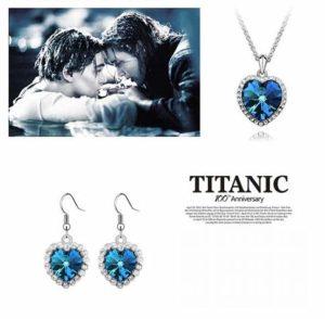 Parure de bijoux en argent avec cœur océan Titan