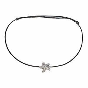 SelfmadeJewelry Chaîne de cheville en satin noir avec étoile de mer en argent, taille réglable, fait main