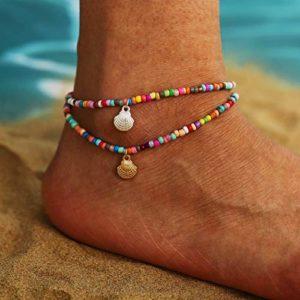Sethexy Boho Coquille Bracelets de cheville Perles colorées Chaîne de pied Pendentif coquillage or et argent Été Plage de sable Bijoux de pied pour les femmes et les filles (2Pcs)