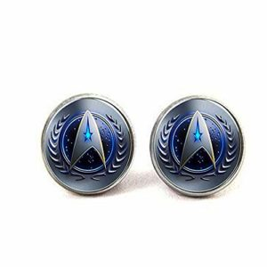Star Trek Collier en fil français Symbole de commandement.Boucles d'oreilles Bijoux littéraires