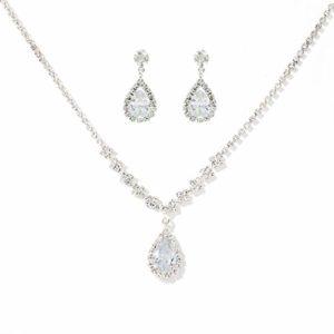 Unicra mariée mariage collier boucles d'oreilles Set strass bijoux en argent Set argent nuptiale de mariée pour les femmes et les filles