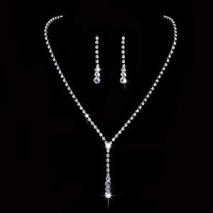 Ushiny Parure de bijoux de mariage en argent avec cristaux et boucles d'oreilles pour femme et fille (446#)