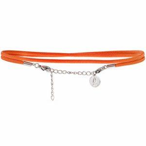 Wind Passion Bracelet de Cheville pour Femme, Orange Acier Inoxydable Corde Réglable Chaîne de Pied Pour les Filles