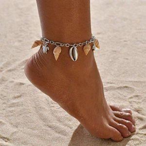Yean Bracelet de cheville Boho en argent avec coquillages pour femme et fille