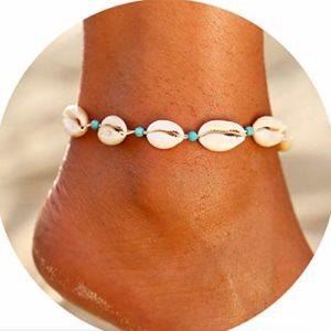 Yienate Bracelet de cheville de plage avec perles turquoise pour femme et fille